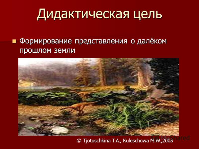 Дидактическая цель Формирование представления о далёком прошлом земли Формирование представления о далёком прошлом земли © Tjotuschkina T.A., Kuleschowa M.W.,2008