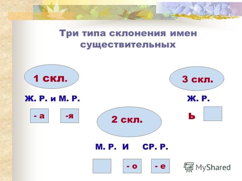 Три типа склонения имен существительных 1 скл. Ж. Р. и М. Р. - а-я 2 скл. - о- е М. Р. И СР. Р. 3 скл. ь Ж. Р.