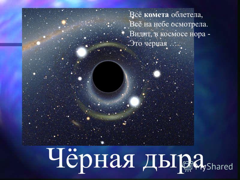 Чёрная дыра Всё комета облетела, Всё на небе осмотрела. Видит, в космосе нора - Это черная …
