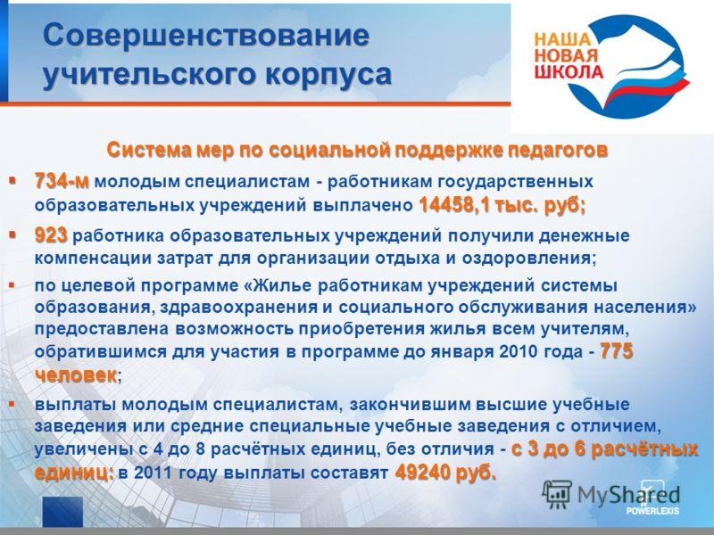 Совершенствование учительского корпуса Система мер по социальной поддержке педагогов 734-м 14458,1 тыс. руб; 734-м молодым специалистам - работникам государственных образовательных учреждений выплачено 14458,1 тыс. руб; 923 923 работника образователь