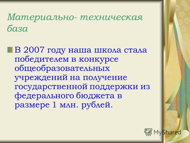 Материально- техническая база В 2007 году наша школа стала победителем в конкурсе общеобразовательных учреждений на получение государственной поддержки из федерального бюджета в размере 1 млн. рублей.