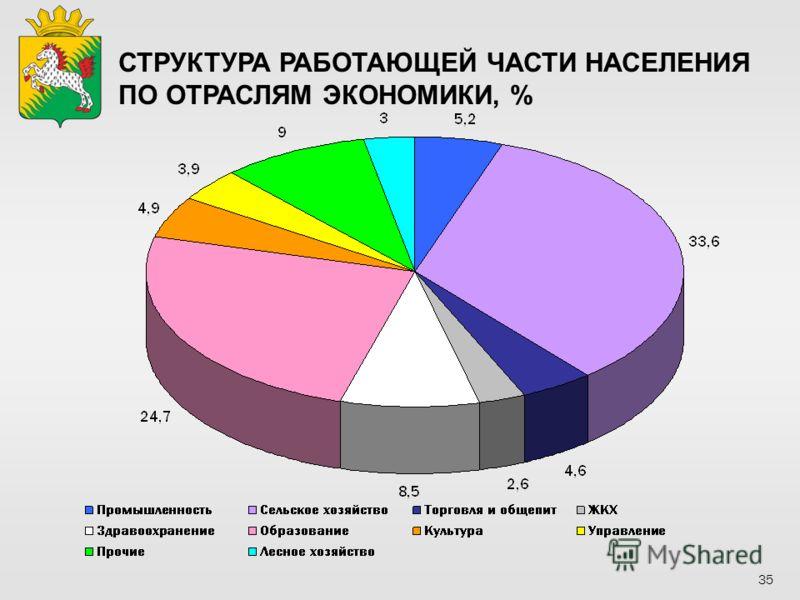 СТРУКТУРА РАБОТАЮЩЕЙ ЧАСТИ НАСЕЛЕНИЯ ПО ОТРАСЛЯМ ЭКОНОМИКИ, % 35