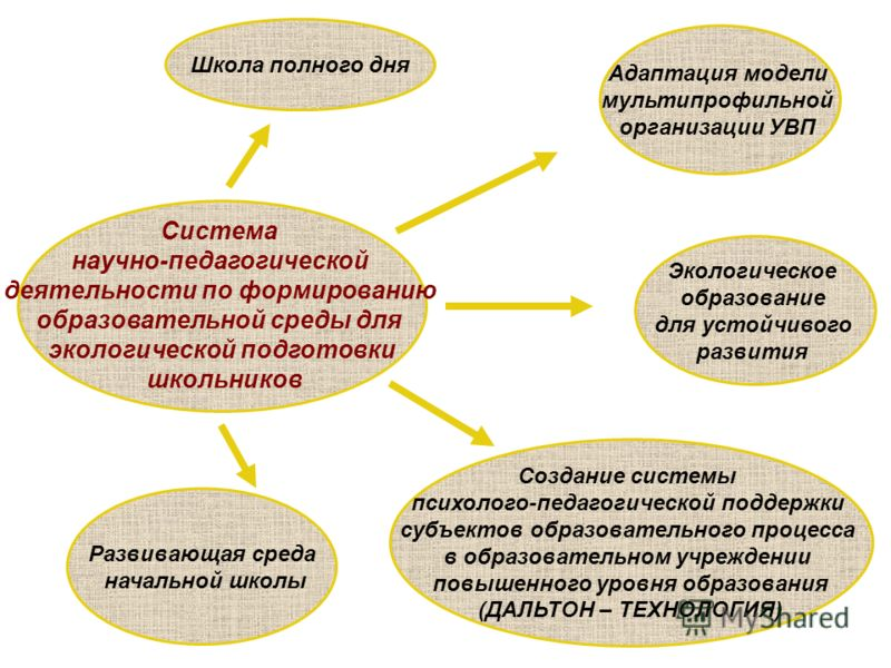Экологическое образование для устойчивого развития Адаптация модели мультипрофильной организации УВП Система научно-педагогической деятельности по формированию образовательной среды для экологической подготовки школьников Создание системы психолого-п