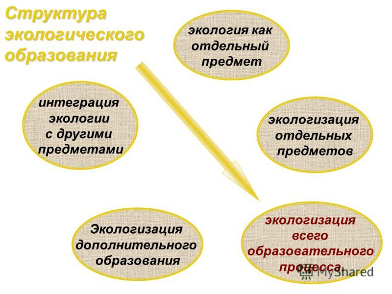 экология как отдельный предмет Структура экологического образования экологизация отдельных предметов интеграция экологии с другими предметами экологизация всего образовательного процесса. Экологизация дополнительного образования