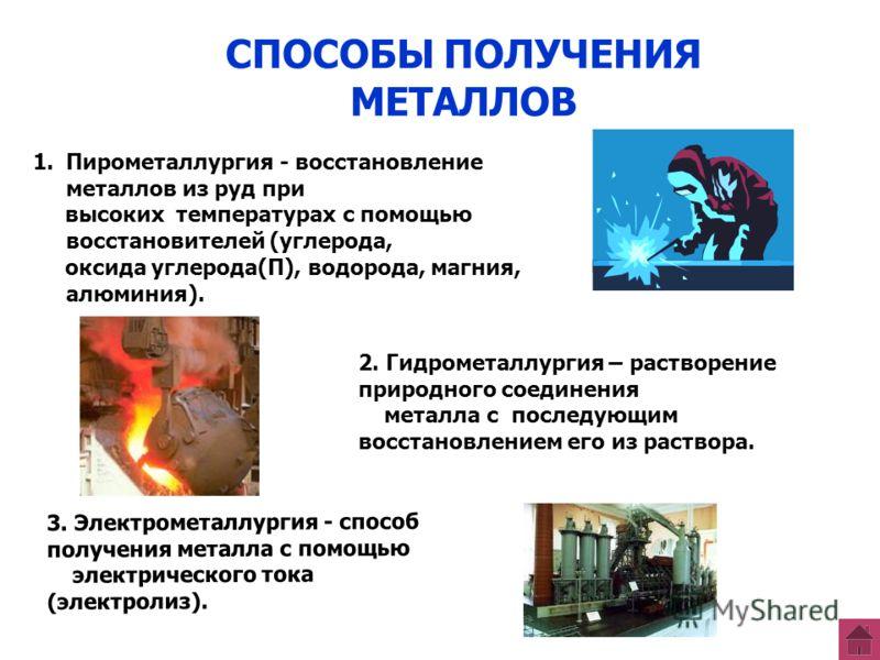 СПОСОБЫ ПОЛУЧЕНИЯ МЕТАЛЛОВ 1.Пирометаллургия - восстановление металлов из руд при высоких температурах с помощью восстановителей (углерода, оксида углерода(П), водорода, магния, алюминия). 2. Гидрометаллургия – растворение природного соединения метал