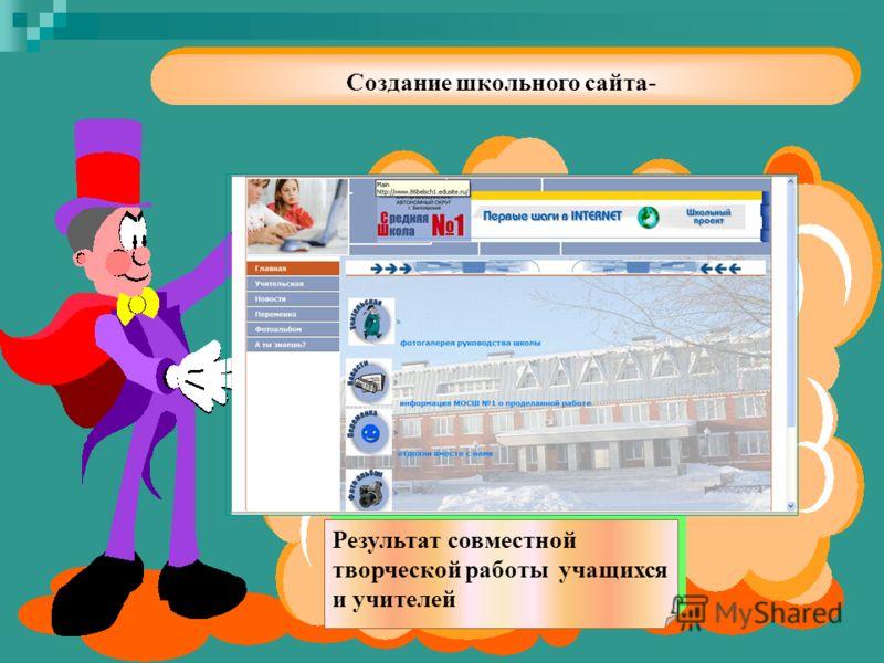 Создание школьного сайта- Результат совместной творческой работы учащихся и учителей