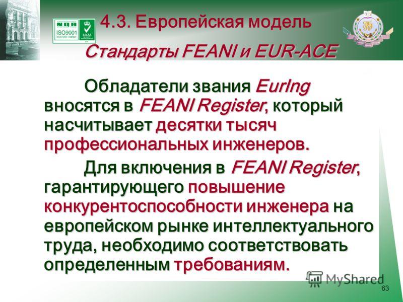 63 Обладатели звания EurIng вносятся в FEANI Register, который насчитывает десятки тысяч профессиональных инженеров. Для включения в FEANI Register, гарантирующего повышение конкурентоспособности инженера на европейском рынке интеллектуального труда,