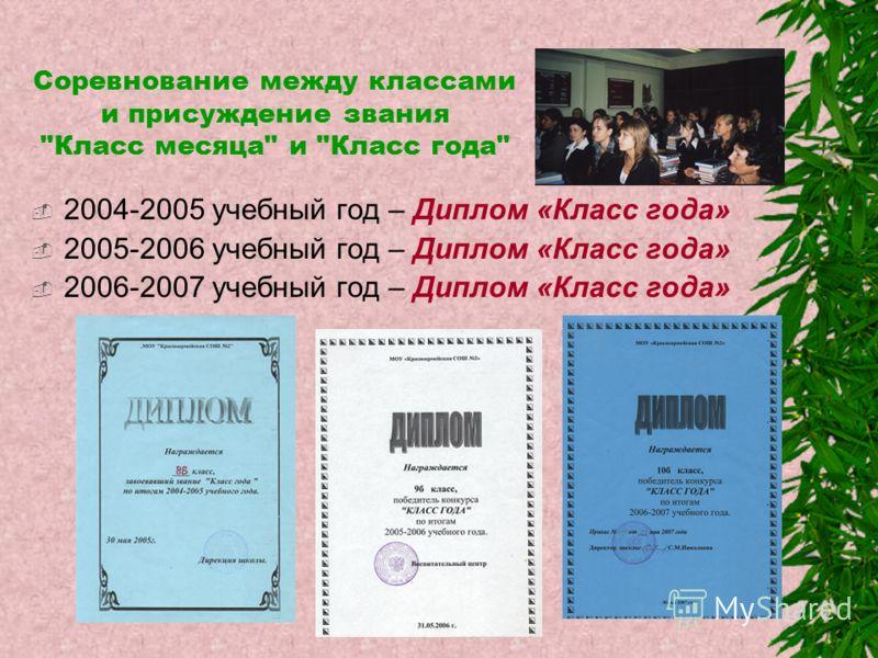 Соревнование между классами и присуждение звания Класс месяца и Класс года 2004-2005 учебный год – Диплом «Класс года» 2005-2006 учебный год – Диплом «Класс года» 2006-2007 учебный год – Диплом «Класс года»