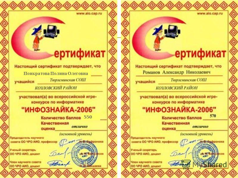 Понкратова Полина Олеговна 550