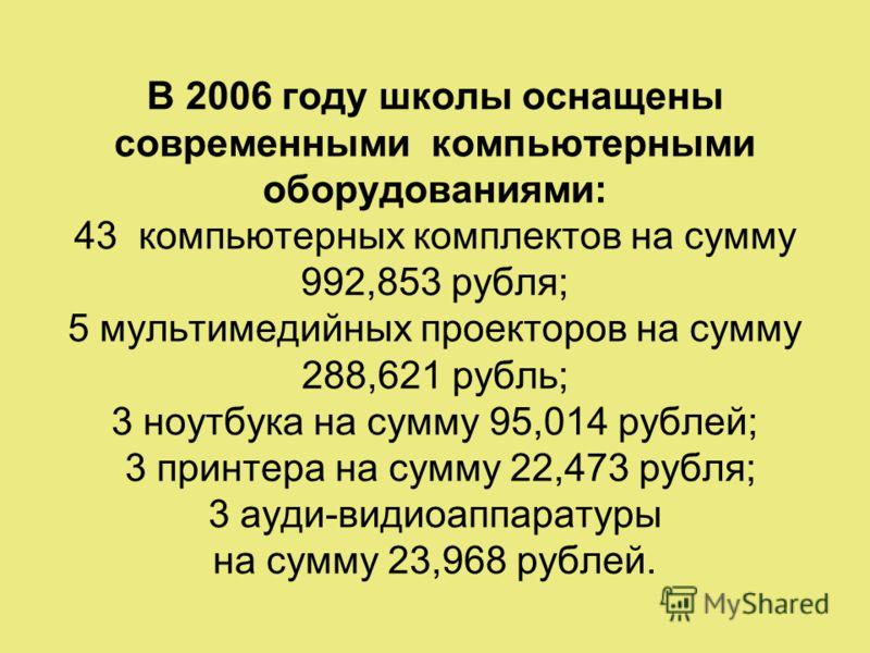 В 2006 году школы оснащены современными компьютерными оборудованиями: 43 компьютерных комплектов на сумму 992,853 рубля; 5 мультимедийных проекторов на сумму 288,621 рубль; 3 ноутбука на сумму 95,014 рублей; 3 принтера на сумму 22,473 рубля; 3 ауди-в