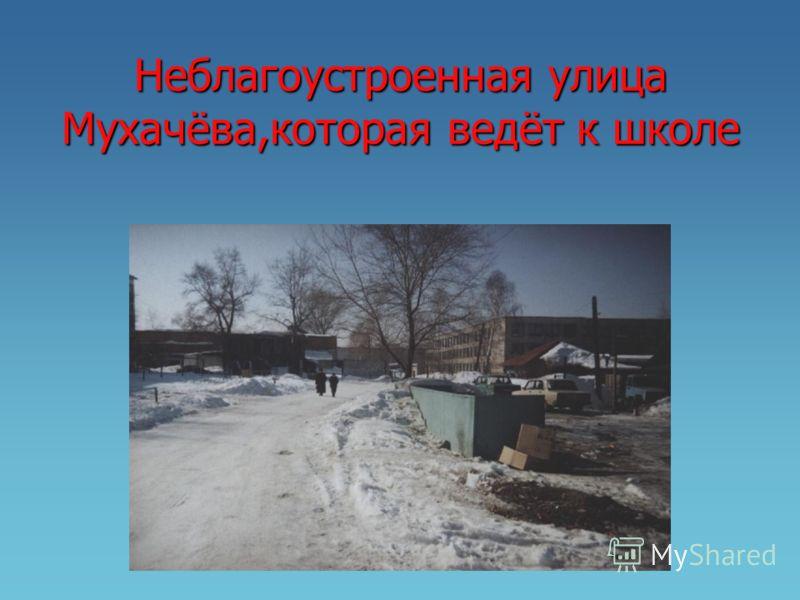 Неблагоустроенная улица Мухачёва,которая ведёт к школе
