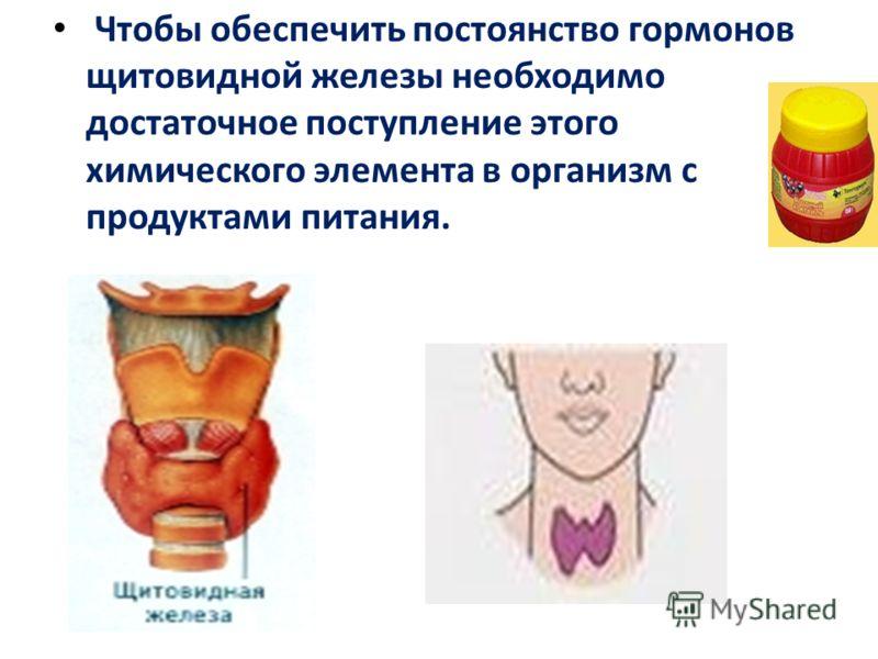 Чтобы обеспечить постоянство гормонов щитовидной железы необходимо достаточное поступление этого химического элемента в организм с продуктами питания.