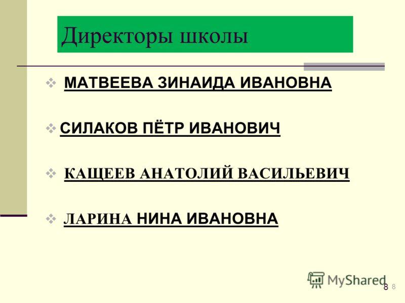 Директоры школы МАТВЕЕВА ЗИНАИДА ИВАНОВНА СИЛАКОВ ПЁТР ИВАНОВИЧ КАЩЕЕВ АНАТОЛИЙ ВАСИЛЬЕВИЧ ЛАРИНА НИНА ИВАНОВНА 8 8