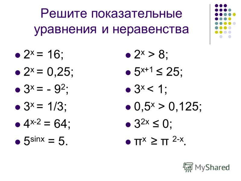 3 Решите показательные уравнения и неравенства 2 х = 16; 2 х = 0,25; 3 х = - 9 2 ; 3 х = 1/3; 4 x-2 = 64; 5 sinx = 5. 2 x > 8; 5 x+1 25; 3 x < 1; 0,5 x > 0,125; 3 2x 0; π x π 2-x.
