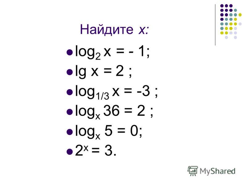 5 Найдите х: log 2 x = - 1; lg x = 2 ; log 1/3 x = -3 ; log x 36 = 2 ; log x 5 = 0; 2 х = 3.
