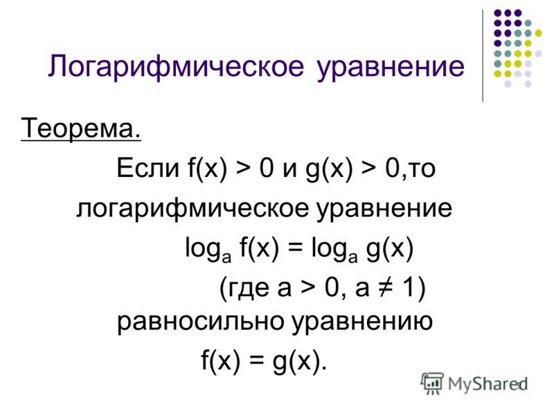 9 Логарифмическое уравнение Теорема. Если f(x) > 0 и g(x) > 0,то логарифмическое уравнение log a f(x) = log a g(x) (где а > 0, а 1) равносильно уравнению f(x) = g(x).