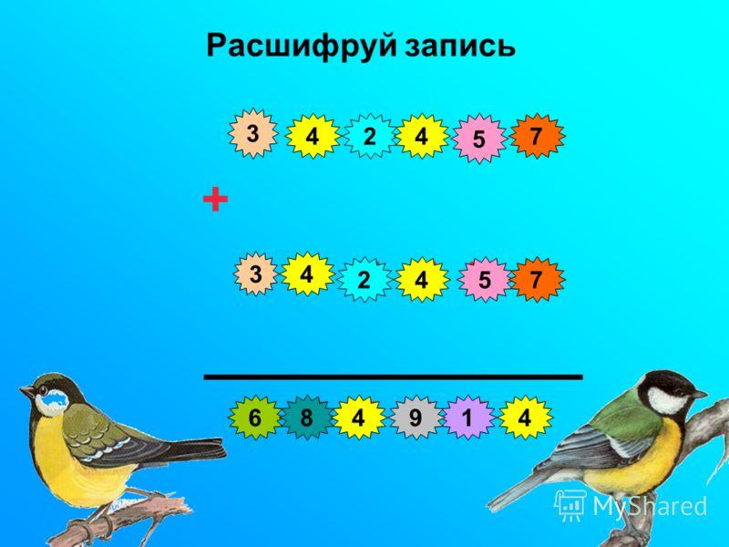 Расшифруй запись с и н и ц а + с и н и ц а п т и ч к и 3 3 1 2 2 44 4 4 4 5 5 6 7 7 894