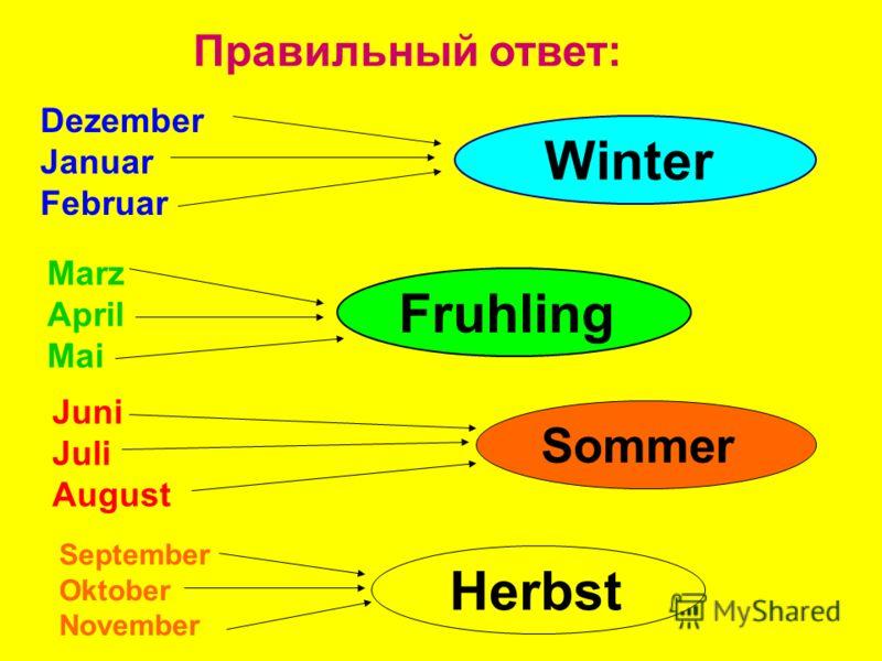 Правильный ответ: Winter Fruhling Sommer Herbst Dezember Januar Februar Marz April Mai Juni Juli August September Oktober November