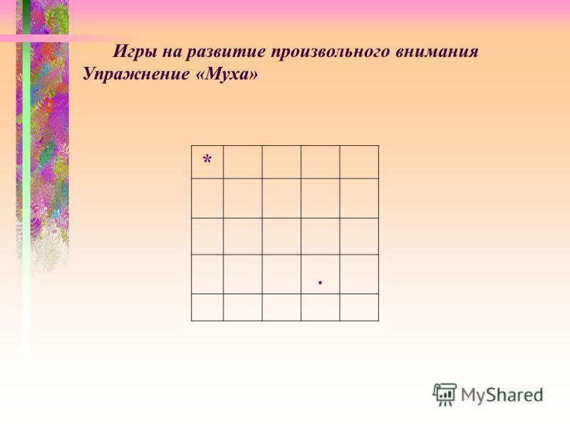 Игры на развитие произвольного внимания Упражнение «Муха» *.