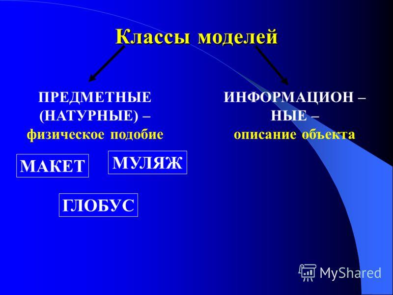 Классы моделей ПРЕДМЕТНЫЕ (НАТУРНЫЕ) – физическое подобие ИНФОРМАЦИОН – НЫЕ – описание объекта ГЛОБУС МУЛЯЖ МАКЕТ