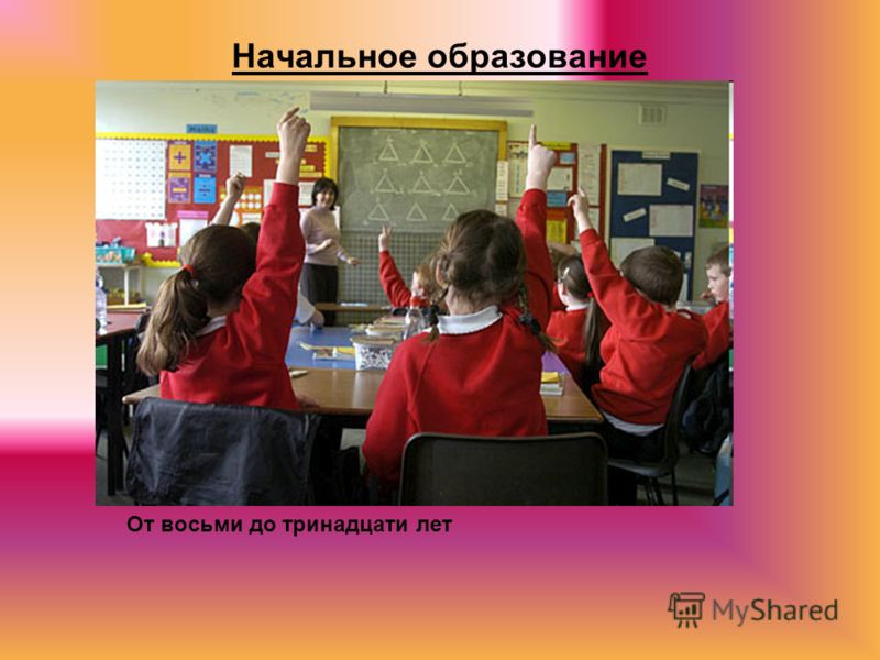 Начальное образование От восьми до тринадцати лет