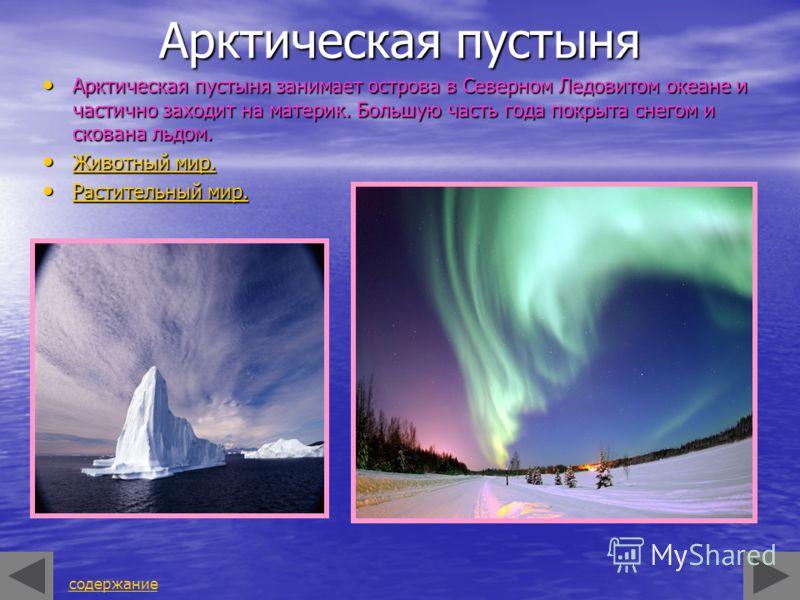 Арктическая пустыня Арктическая пустыня занимает острова в Северном Ледовитом океане и частично заходит на материк. Большую часть года покрыта снегом и скована льдом. Арктическая пустыня занимает острова в Северном Ледовитом океане и частично заходит
