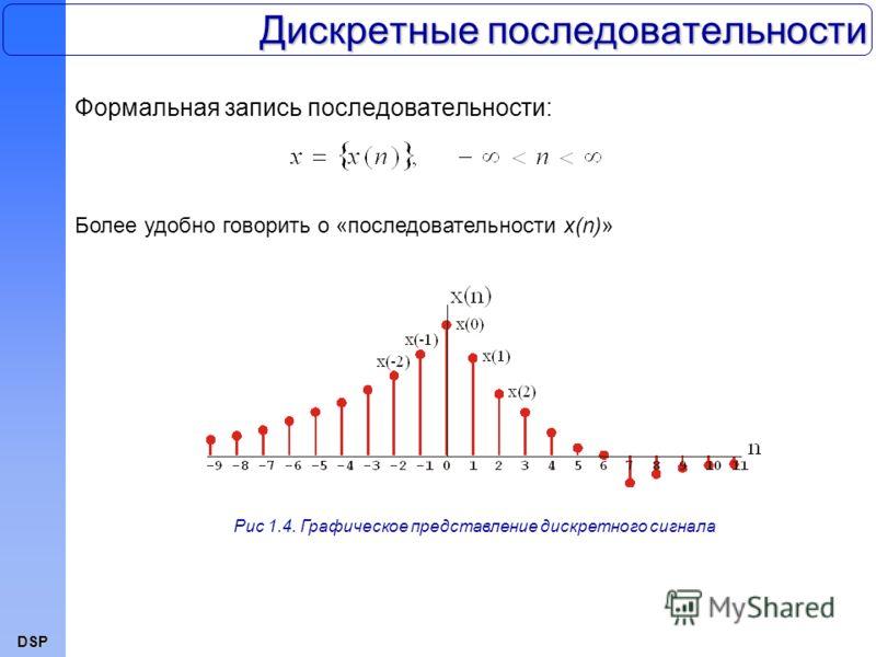DSP Дискретные последовательности Формальная запись последовательности: Рис 1.4. Графическое представление дискретного сигнала Более удобно говорить о «последовательности x(n)»