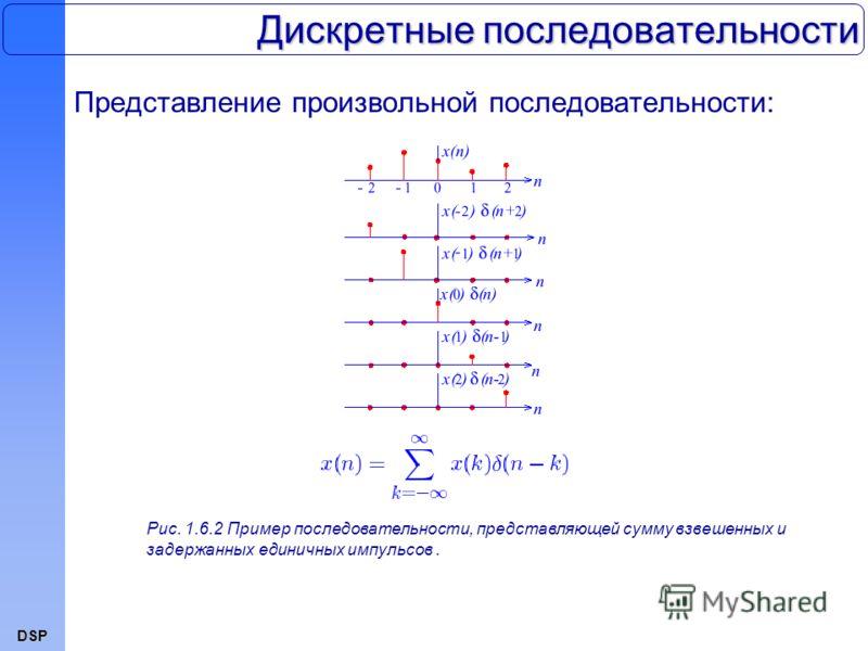 DSP Дискретные последовательности Представление произвольной последовательности: Рис. 1.6.2 Пример последовательности, представляющей сумму взвешенных и задержанных единичных импульсов.