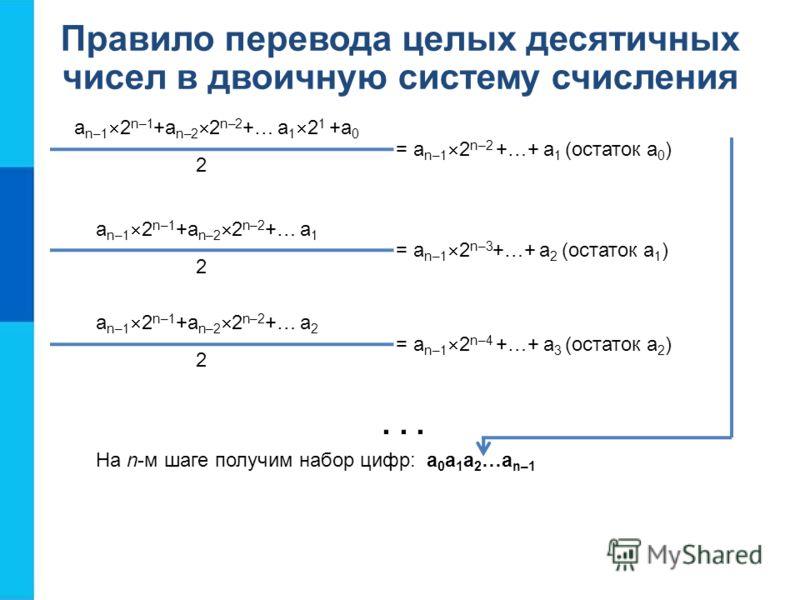 Правило перевода целых десятичных чисел в двоичную систему счисления a n–1 2 n–1 +a n–2 2 n–2 +… a 1 2 1 +a 0 = a n–1 2 n–2 +…+ a 1 (остаток a 0 ) 2 a n–1 2 n–1 +a n–2 2 n–2 +… a 1 = a n–1 2 n–3 +…+ a 2 (остаток a 1 ) 2... a n–1 2 n–1 +a n–2 2 n–2 +…