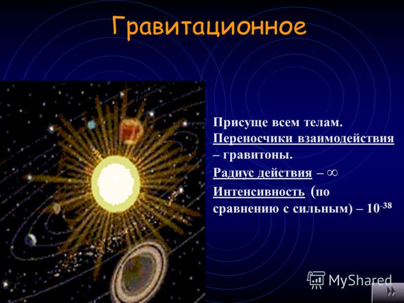 Слабое Ответственно за взаимодействие частиц, происходящих с участием нейтрино или антинейтрино, а так же безнейтринные процессы с большим временем жизни (ф>10 -10 с) Переносчики взаимодействия – промежуточные бозоны Радиус действия – 10 -18 м Интенс