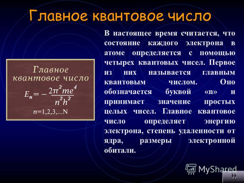Квантовые числа Описывают состояние электронов в оболочке атома