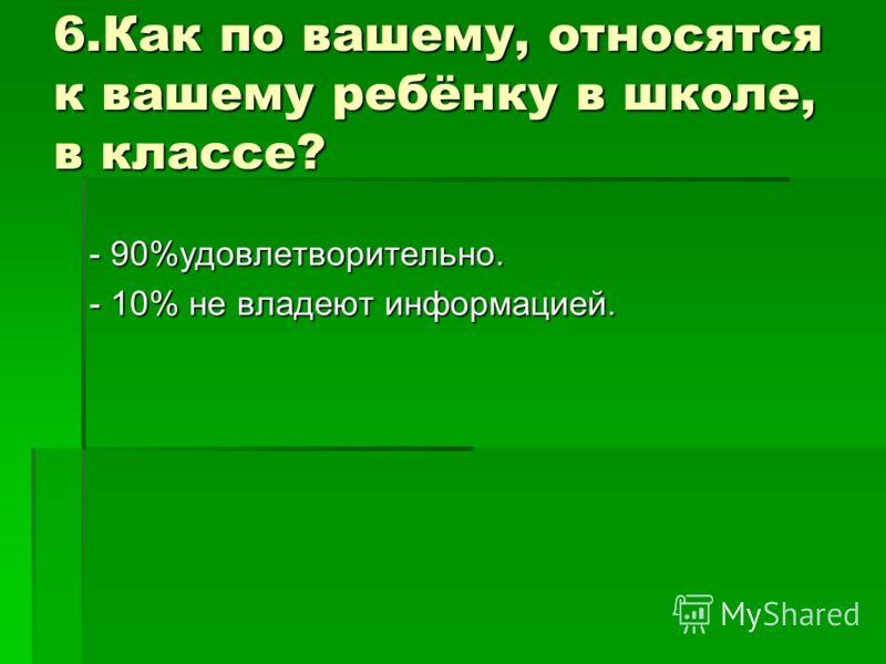 6.Как по вашему, относятся к вашему ребёнку в школе, в классе? - 90%удовлетворительно. - 10% не владеют информацией.