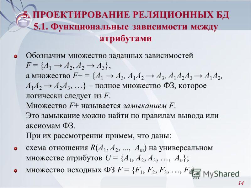 14 Обозначим множество заданных зависимостей F = {А 1 А 2, А 2 А 3 }, а множество F+ = {А 1 А 3, А 1 A 2 А 3, А 1 А 2 А 3 А 1 А 2, А 1 А 2 А 2 А 3, …} – полное множество ФЗ, которое логически следует из F. Множество F+ называется замыканием F. Это за