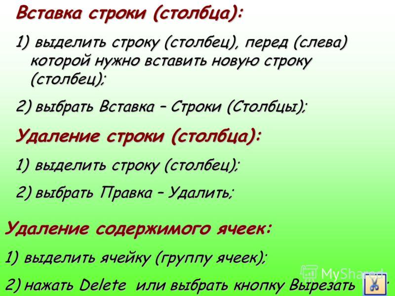 Вставка строки (столбца): 1) в ыделить строку (столбец), перед (слева) которой нужно вставить новую строку (столбец); 2) в ыбрать Вставка – Строки (Столбцы); Удаление строки (столбца): 1) в ыделить строку (столбец); 2) в ыбрать Правка – Удалить; Удал