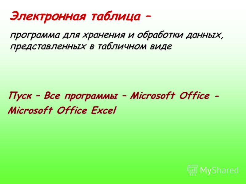 Электронная таблица – программа для хранения и обработки данных, представленных в табличном виде Пуск – Все программы – Microsoft Office - Microsoft Office Excel
