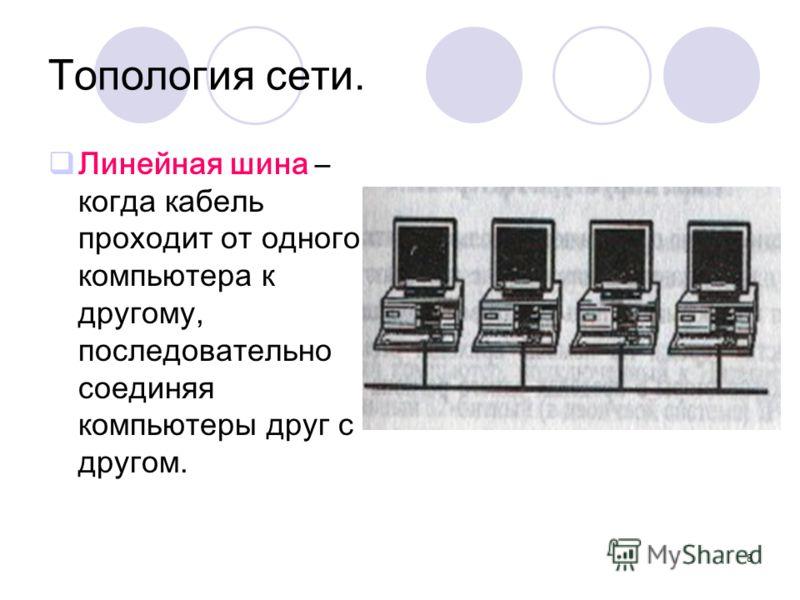 8 Топология сети. Линейная шина – когда кабель проходит от одного компьютера к другому, последовательно соединяя компьютеры друг с другом.