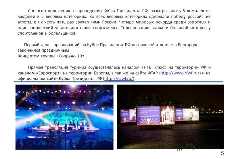 Согласно положению о проведении Кубка Президента РФ, разыгрывалось 5 комплектов медалей в 5 весовых категориях. Во всех весовых категориях одержали победу российские атлеты, в их честь пять раз звучал гимн России. Четыре мировых рекорда среди взрослы