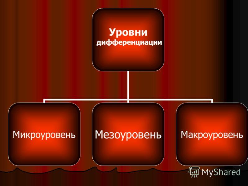 Уровни дифференциации МикроуровеньМезоуровеньМакроуровень
