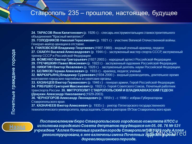 Ставрополь 235 – прошлое, настоящее, будущее 24. ТАРАСОВ Яков Капитонович (р. 1926 г.) - слесарь-инструментальщик станкостроительного объединения