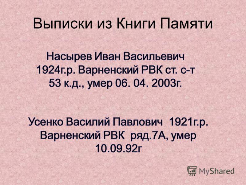 Выписки из Книги Памяти