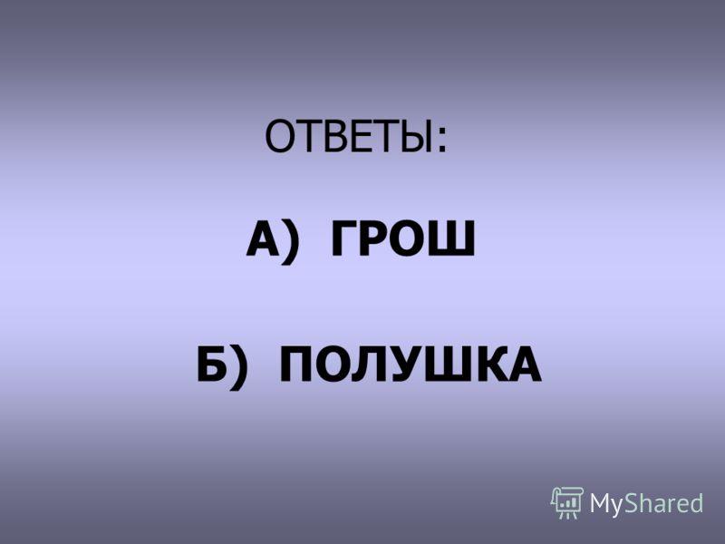 ОТВЕТЫ: А) ГРОШ Б) ПОЛУШКА