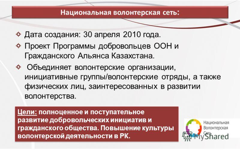 Национальная волонтерская сеть : Дата создания: 30 апреля 2010 года. Проект Программы добровольцев ООН и Гражданского Альянса Казахстана. Объединяет волонтерские организации, инициативные группы/волонтерские отряды, а также физических лиц, заинтересо