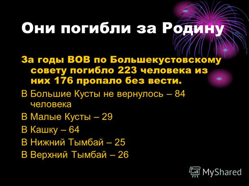 Они погибли за Родину За годы ВОВ по Большекустовскому совету погибло 223 человека из них 176 пропало без вести. В Большие Кусты не вернулось – 84 человека В Малые Кусты – 29 В Кашку – 64 В Нижний Тымбай – 25 В Верхний Тымбай – 26