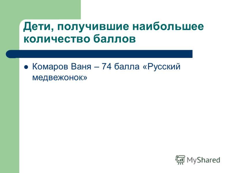 Дети, получившие наибольшее количество баллов Комаров Ваня – 74 балла «Русский медвежонок»