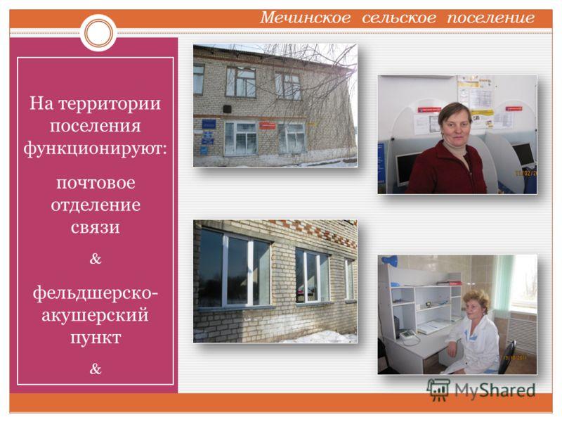 На территории поселения функционируют: почтовое отделение связи фельдшерско- акушерский пункт Мечинское сельское поселение