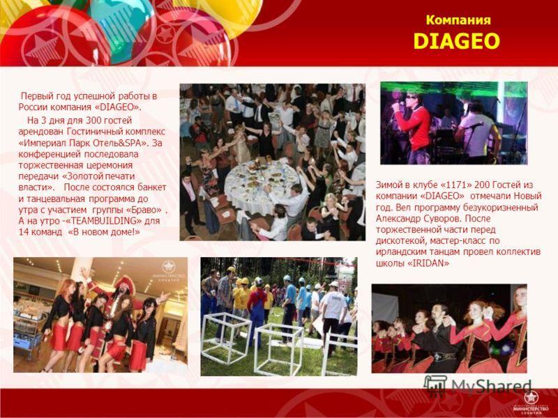 Зимой в клубе «1171» 200 Гостей из компании «DIAGEO» отмечали Новый год. Вел программу безукоризненный Александр Суворов. После торжественной части перед дискотекой, мастер-класс по ирландским танцам провел коллектив школы «IRIDAN» Первый год успешно