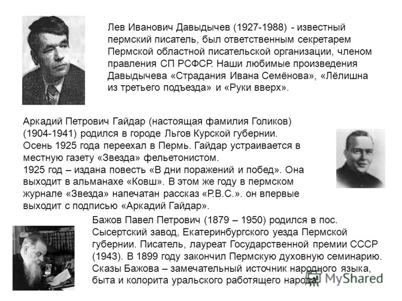 Лев Иванович Давыдычев (1927-1988) - известный пермский писатель, был ответственным секретарем Пермской областной писательской организации, членом правления СП РСФСР. Наши любимые произведения Давыдычева «Страдания Ивана Семёнова», «Лёлишна из третье