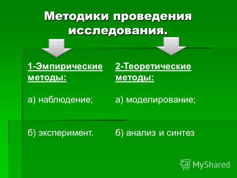 Методики проведения исследования. 1-Эмпирические методы: а) наблюдение; б) эксперимент. 2-Теоретические методы: а) моделирование; б) анализ и синтез