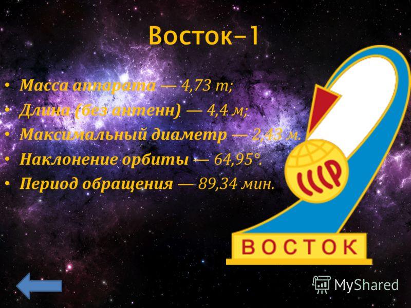 Восток-1 Масса аппарата 4,73 т; Длина (без антенн) 4,4 м; Максимальный диаметр 2,43 м. Наклонение орбиты 64,95°. Период обращения 89,34 мин.