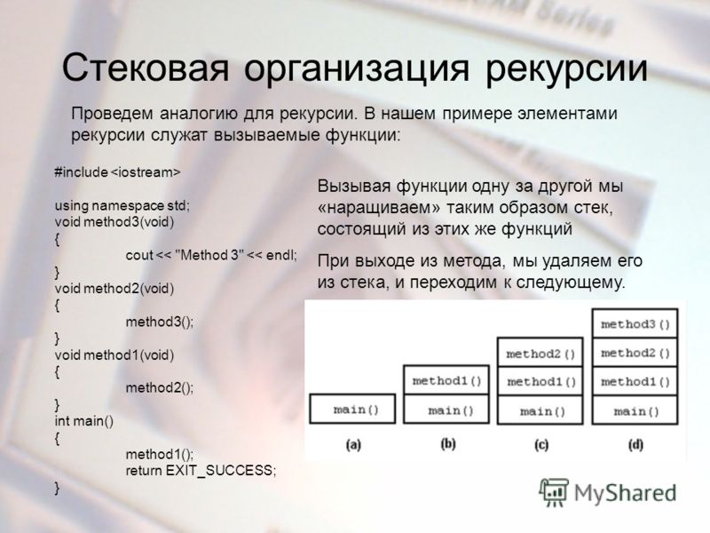 Стековая организация рекурсии Проведем аналогию для рекурсии. В нашем примере элементами рекурсии служат вызываемые функции: #include using namespace std; void method3(void) { cout